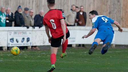 Ollie Hughes scores with this wonderful header during Bury Town's last home game, a 3-2 defeat Cogge