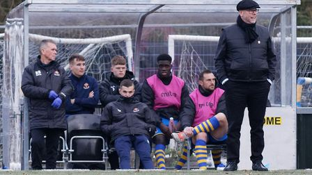 Sudbury boss Mark Morsley watches on from the sidelines. Picture: PAUL VOLLER