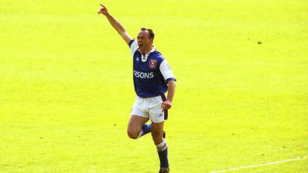 Simon Milton celebrates his goal as Town beat Nottingham Forest 2-1 at Portman Road in May 1993