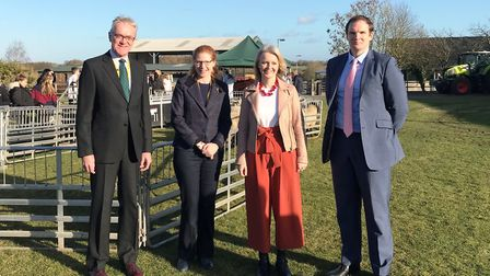 Chair of governors Mark Pendlington, Easton and Otley College principal Jane Townsend, Liz Truss and