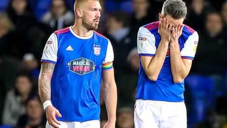 Cole Skuse can't look and Luke Chambers isn't happy after conceding again in the 3-2 defeat by Brist