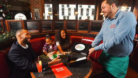 A family dining at Frankie and Benny's