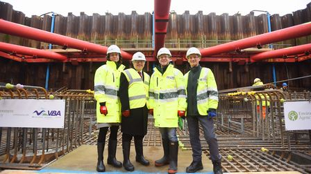 Dr Charles Beardall (far right ) at the Ipswich Flood Barrier site alongside (eft to right) Sue Ro
