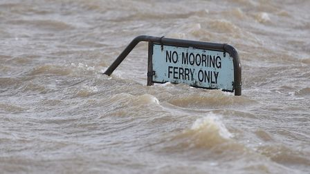 A sign at Felixstowe Ferry after a tidal surge last year.