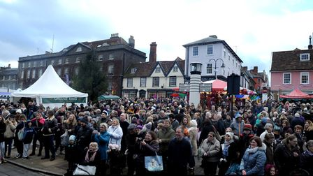 The packed Bury St Edmunds Christmas Fayre last year at Angel Hill Picture: ANDY ABBOTT