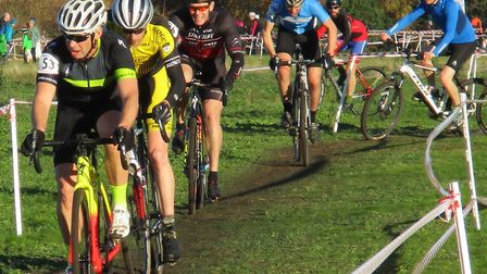 Ian Newby (Diss CC) leads Mark Powell (Stowmarket & District). Picture: FERGUS MUIR