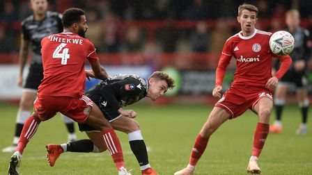 Sammie Szmodics looks to get past Accrington defender Michael Ihiekwe during the FA Cup defeat at th