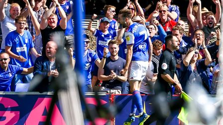 Portman Road erupts after Gwion Edwards' goal against Norwich City back in September. Photo: Steve W