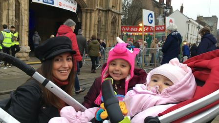 Emily McMillan, from Bury St Edmunds, with daughters Bow, three, and Belle. Pictured on Angel Hill P