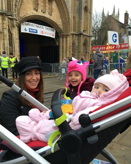 Emily McMillan, from Bury St Edmunds, with her daughters Bow, three, and Belle Picture: MARIAM GHAEM