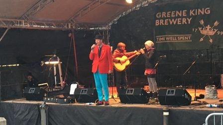 The Greene King stage on Angel Hill. Pictures is councillor Robert Everitt Picture: MARIAM GHAEMI