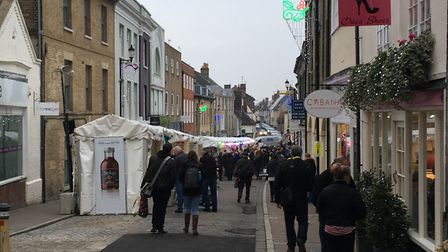 Looking down Hatter Street, which is filled with stalls Picture: MARIAM GHAEMI