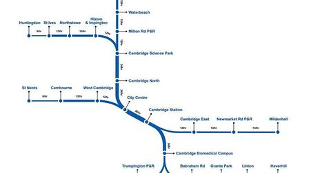Early proposals for the metro network stretching to Mildenhall and Haverhill. Picture: CAMBRIDGESHIR