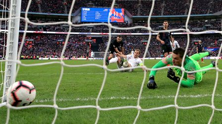 England's Harry Kane (centre) scores England's winner during the UEFA Nations League, Group A4 match