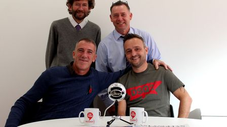 Carl Marston and Mike Bacon standing, with Ian Watson and Shane Coldron on The Non-League Podcast, e