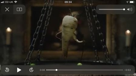 Aldi Christmas ad, a screenshot of Pascal the wicked parsnip