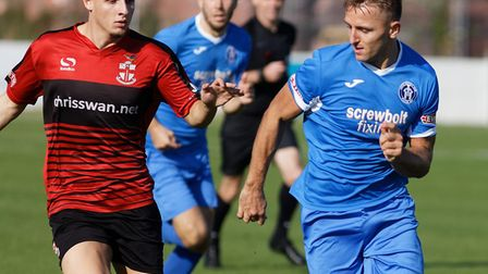 Leiston's Jake Reed, right, who could return to the side after injury in the FA Trophy tie at Beacon