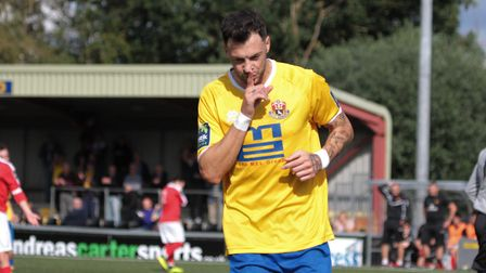 Phil Kelley, hat-trick against Brentwood. Photo: CLIVE PEARSON