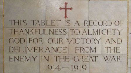 Culpho'�s memorial to the First World War, composed of glass tiles, by Powel of London and dedicated