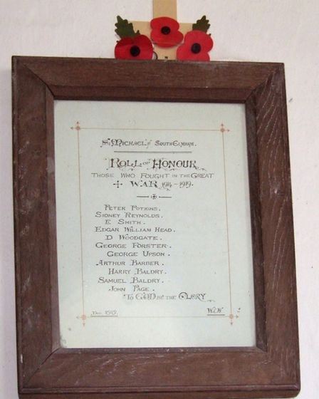 The First World War roll of honour at St Michael South Elmham Picture: Simon Knott