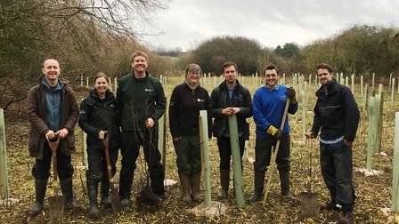 Volunteers from the Environment Agency and Dedham Vale AONB and Stour Valley Project at the tree pl