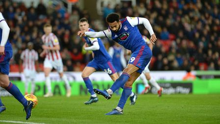 Jordan Roberts shoots during the first half at Stoke Picture Pagepix