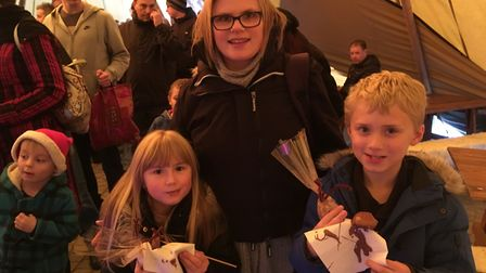 Abbi Bang with her two children Charlie and Jasmine Jones at the Charlie and the Chocolate Factory-t