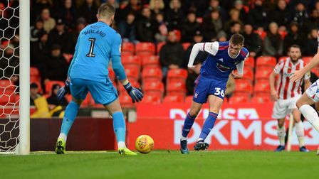 Jack Lankester is denied by Stoke keeper Jack Butland during the first half Picture Pagepix