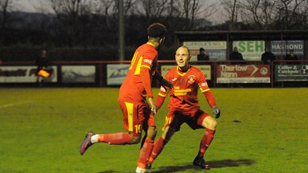 Needham's Reece Dobson grabbed the equaliser in their 3-3 draw with Banbury. Picture: BEN POOLEY