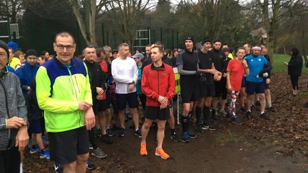 The field congregate before the start of last Saturday's Barclay parkrun. Picture: CARL MARSTON