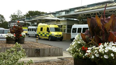 WEST SUFFOLK HOSPITAL LIBRARY PIX; The West Suffolk Hospital frontage and main entrance/reception; P