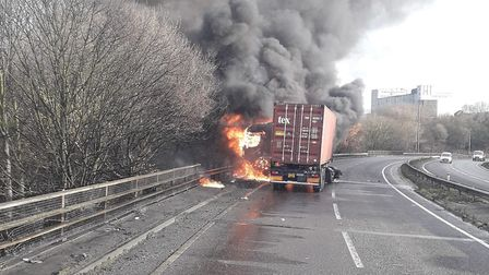 A14 lorry fire Picture: PAUL DAVEY