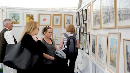 Visitors browsing the art pavilion at the 2018 Suffolk Show Picture: SUFFOLK AGRICULTURAL ASSOCIATI