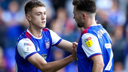 Jack Lankester (left) could be part of avery youthful looking Ipswich midfield today. Photo: Steve
