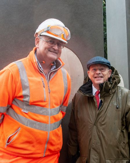 Suffolk County Council engineer Ty Kidd, part of the current project team, with ex-Mayor of Ipswich