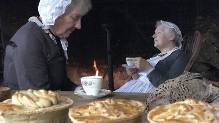 Ready for the family dinner. The cooks take a moment's rest during the Dickensian Christmas at Kentw