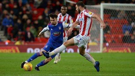 Gwion Edwards turns inside at Stoke during the second half. Photo: Pagepix