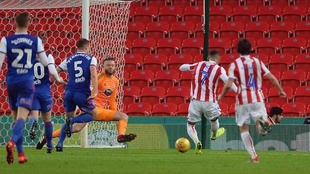 Tom Ince scores Stoke City's first goal on Saturday. Photo: Pagepix