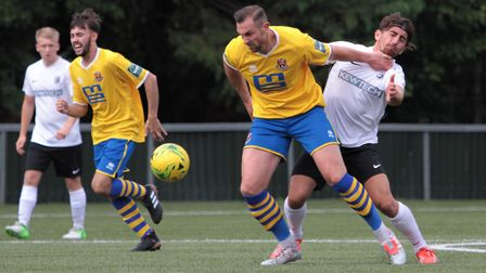 Captain Paul Hayes was on target for AFC Sudbury in their win at Soham. Picture: CLIVE PEARSON
