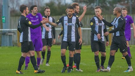 Carlos Edwards celebrates after putting Woodbridge 1-0 up in their win over Melford. Picture: PAUL L