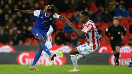 Trevoh Chalobah shooting during the second half at Stoke City Picture Pagepix