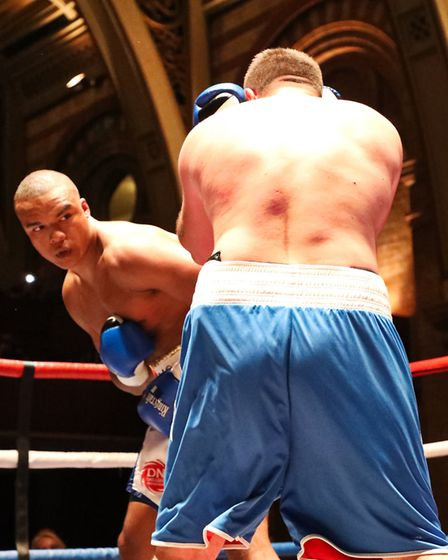 Fabio Wardley looks to land a shot on foe Ferenc Zsalek at the Ipswich Corn Exchange in May. Picture