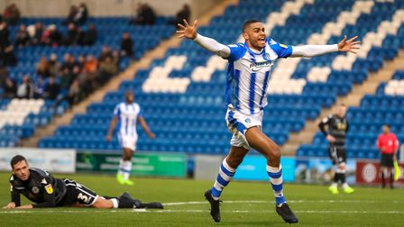 Mikael Mandron celebrates scoring the all-important goal for the U's, in their 1-0 win over Macclesf