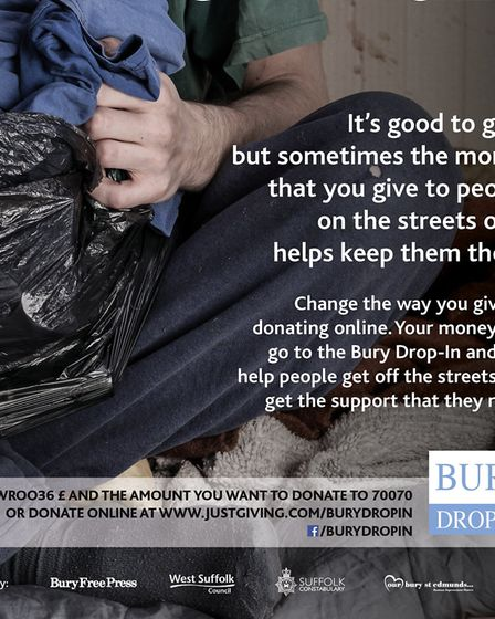 A campaign to change the way people give to the homeless has been launched Picture: WEST SUFFOLK COU