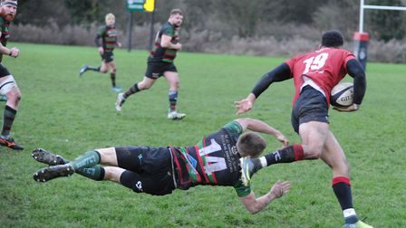 Colchester star Damien Brambley leaves a would-be tackler clutching at air. Picture: RICHARD PARKER