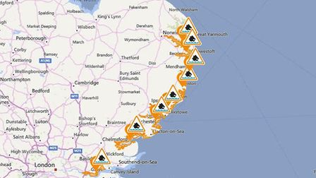 Flood alerts have been issued for the East Anglian coastline Picture: FLOOD INFORMATION SERVICE