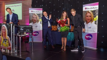 Nino Severino with Martyn and Leoni Waghorn at the Elena Baltacha Foundation Awards 2018. Picture: P