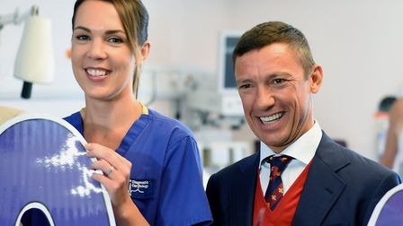 Frankie Dettori launched the appeal last year. He is pictured with cardiac physiologist Caroline Pry