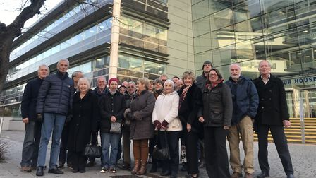 Campaigners from Long Melford outside of the Suffolk County Council offices Picture: NEIL PERRY