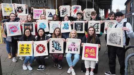 Graphic design students with their work which is on display at Vinyl Hunter in St John's Street Pict